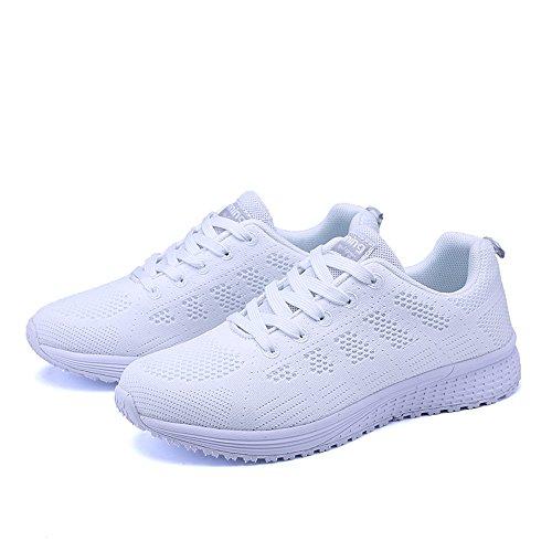 Damen Sportschuhe Schnüren Laufschuhe Sport Fitness Netz Gym Turnschuhe Schwarz Blau Grau Weiß 35-40 Weiß