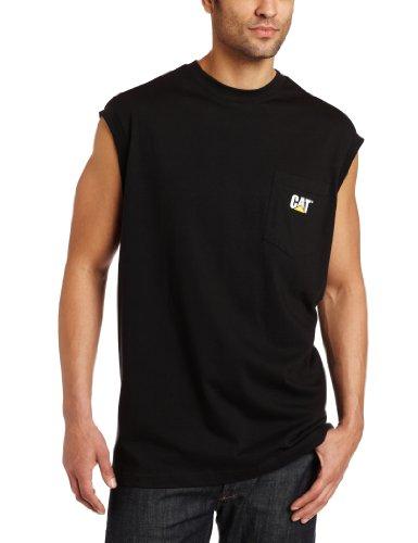 Caterpillar Herren T-Shirt mit Tasche, ärmellos - Schwarz - XX-Large -