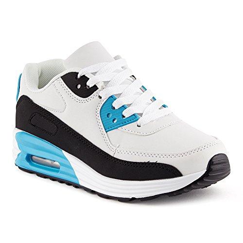 FiveSix Herren Damen Sportschuhe Dämpfung Sneaker Laufschuhe Schwarz/Weiss/Blau-W EU 36