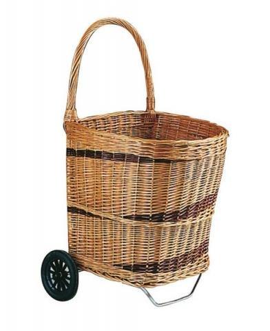 Paniers du monde Chariot à buches en osier bicolore, fond bois anti poussière PRO1140