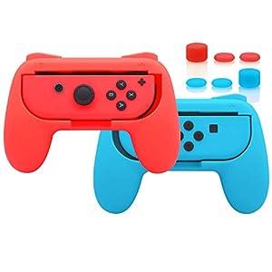 FYOUNG Verbesserte Griffen für Nintendo Switch Joy Con Controller, Komfortable Gummierte Oberfläche Joy-Con Controllerhüllen Hülle für Mario Kart – Blau & Rot
