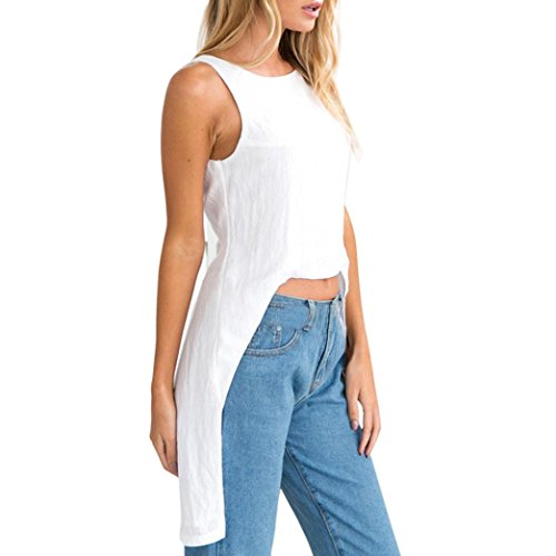 Holeider Frauen T-Shirt Sommer Frauen Sommer Bluse Frauen Sommer Tops Damen Lässige Mode Oansatz Sleeveless Asymmetrische Solide Weste Tank Tops Bluse
