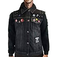 thecostumebase Infamous Second Son Vest and Pins Only Delsin Rowe Cosplay Denim Waistcoat (L)