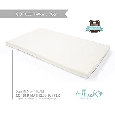 Milliard 5cm Ventilated Memory Foam Cot Mattress Topper/Junior Toddler Crib Mattress Topper with Removable Waterproof 65-Percent Cotton Cover