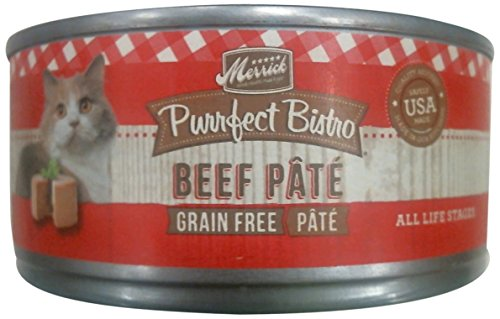 Merrick Purrfect Bistro Grain Free Beef Pate Canned Cat Food, 5.5 oz., Case of 24 by Merrick Pet Care (Purrfect Cat Food)