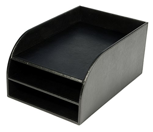 osco-faux-leather-three-tier-letter-tray-black