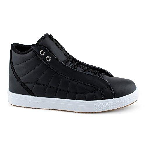 FiveSix Herren Sportschuhe High Top Sneaker Gesteppt Basketballschuhe Freizeitschuhe Schuhe Schwarz/Weiss