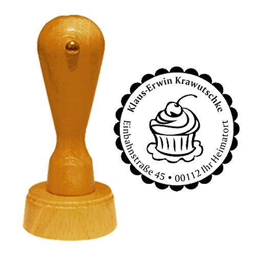 Stempel Adressstempel « CUPCAKE mit KIRSCHE » Durchmesser ca. Ø 40 mm - mit persönlicher Adresse, Motiv und Zierrand - Cupcakes Törtchen Bäcker Konditor - Bäcker Kirsche