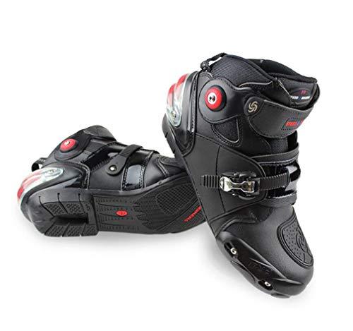 DUBAOBAO Chaussures de Moto, Bottes de Course, Chaussures de Moto Cross-Country Bottes de Voiture, étanchéité réglable + Talon Impact Coussin d'air Design, adapté pour Quatre Saisons,41