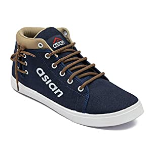 Asian shoes CYBER-101 Navy Blue Brown Men Casual Shoes