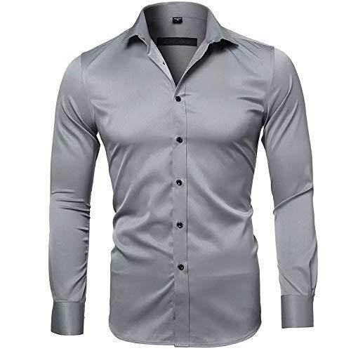 Gdtime Camicie in Fibra di bambù da Uomo Slim Fit Tinta Unita Manica Lunga Camicie Casual Camicie Button Down, Camicie Formali Elastiche per Uomo (Grigio, XXL)