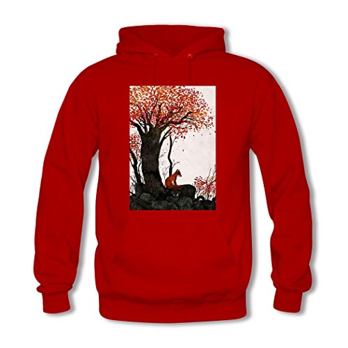 HGLee Printed Personalized Custom Lovely Red Fox Classic Women Hoodie Hooded Sweatshirt Red--1
