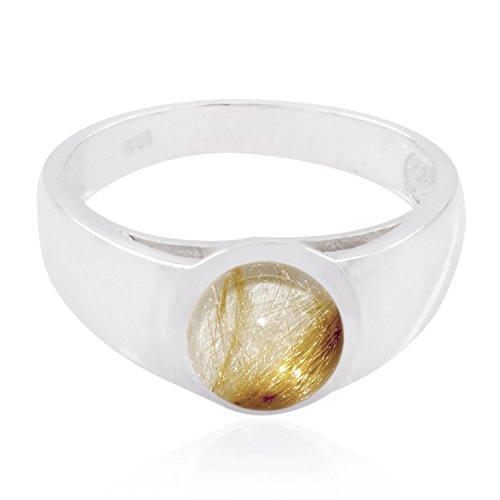 (echte Edelsteine runden Cabochon Rutil Quarz Ring - Sterling Silber mehrfarbigen Rutil Quarz echte Edelsteine Ring - Top Schmuck meistverkaufte Artikel Geschenk für Halloween Stapeln Ringe)