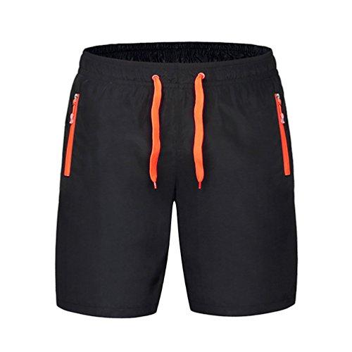 Byqny Jogginghose Gummizug Kurze Hosen Mit Reißverschlusstaschen Atmungsaktiv Und Schnell Trocknend Kurze Hosen Liebhaber Shorts Orange #Frauen XL (Braune Jogginghose)