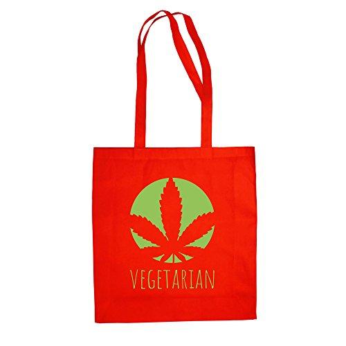 Jutebeutel Baumwolltasche - Vegetarian - von SHIRT DEPARTMENT rot-apfelgrün