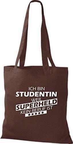 Shirtstown Stoffbeutel Ich bin Studentin, weil Superheld kein Beruf ist braun