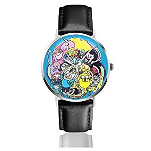 Unisex Business Casual Adventure Time Cartoon Cast Uhren Quarz Leder Armbanduhr mit schwarzem Lederband für Männer und Frauen Young Collection Geschenk