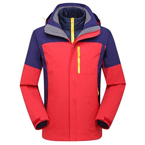 Oudan Unisex 2 in 1 wasserdicht Jacke Down Jacket Liner mit Kapuze Softshell Reisen Wasserdichte Jacken im Freien (Farbe : Rot, Größe : X-Large) 2 Jacke Liner
