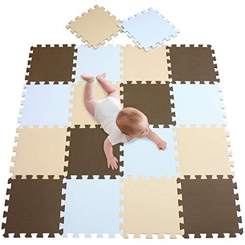 meiqicool Puzzlematte für Babys und Kinder, Spielteppich | 18 Schaumstoffplatten mit Tieren in Einer Aufbewahrungstasche | Dicker Spielmatte | Nicht giftig, schadstofffrei, TÜV geprüft - Nicht Yoga-matte Giftig