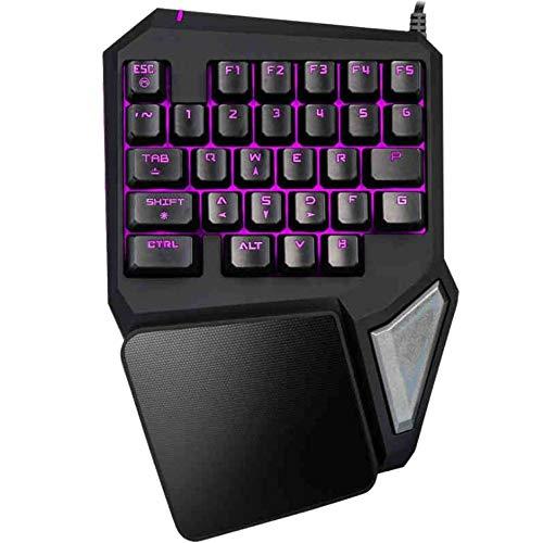 SHANLY 7 Colores RGB LED Retroiluminado Juego con Una Mano Teclado Mecánico USB con Una Sola Mano Teclados Ergonómicos para Gamer con Reposamuñecas para LOL/PUBG