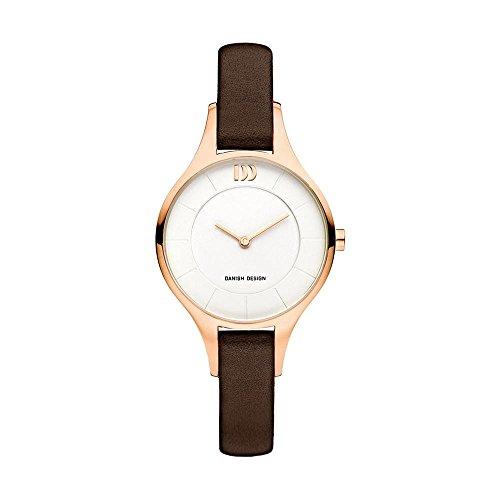 Danish Design Women's 32mm Brown Leather Band Steel Case Quartz White Dial Analog Watch IV15Q1187