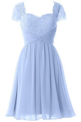 MACloth Women Cap Sleeve Cocktail Dress Short Lace Chiffon Mother of Bride Dress Himmelblau