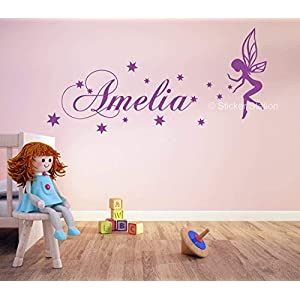 Fee und Sterne Mädchen Personalisierten Namen Wandkunst Wandaufkleber Aufkleber