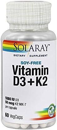 Solaray - Vitamin D3 5000 Iu & K2 50 Mcg Mk7 60 Vegetarian Caps