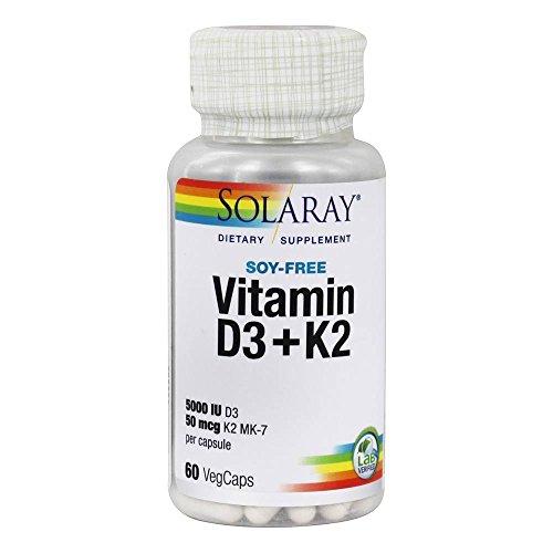 Vitamina D-3 y Vitamina K-2 con Calcio y Fósforo de Solaray | Bote de 60 Comprimidos | D3...