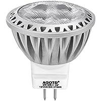 AGOTD LED SPOT GU4 MR11 (35mm Durchmesser), 3Watt,12Volt, LED Lampe 35W Gluhlampe AC/DC 12V, 250lm, Warmweiss 2700K LED Leuchtmittel, ersetzt 35 Watt Halogen, 38 Punktbeleuchtung 1er Pack