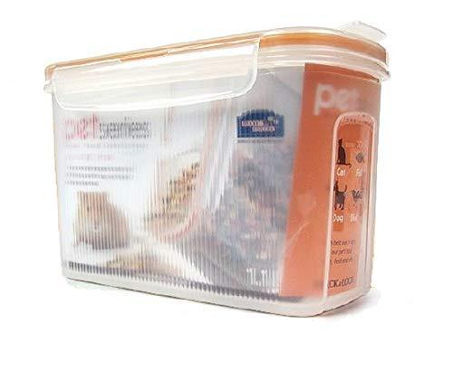 Futterbox Futterdose Frischhaltedose Vorratsdose mit 2 Schüttöffnung mit dicht schließenden Deckeln, Inhalt 1,1 Liter