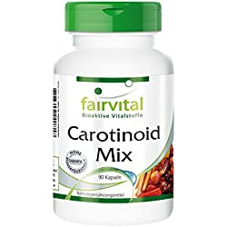 Carotinoid Mix - für 45 Tage - VEGAN - HOCHDOSIERT - 90 Kapseln - natürliche Carotinoide mit Anthocyanen