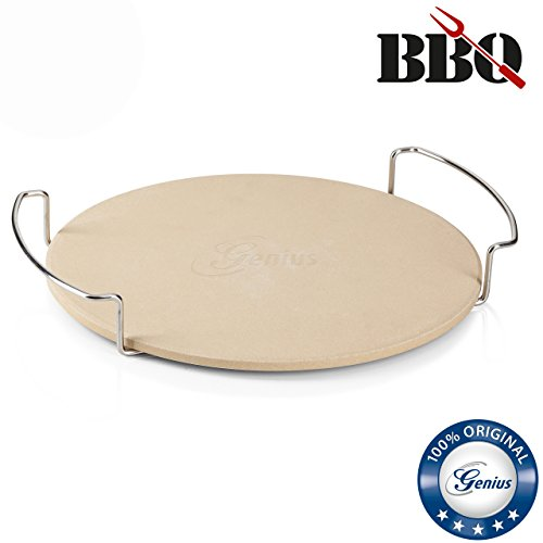 Genius BBQ Pizzastein mit Gestell | Ø 32 cm | Barbecue Pizza-Stein | NEU