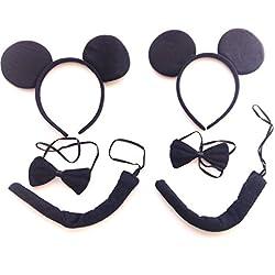 w.s.t Disfraz Black Mouse,Accesorio de Disfraz,2 Paquetes.