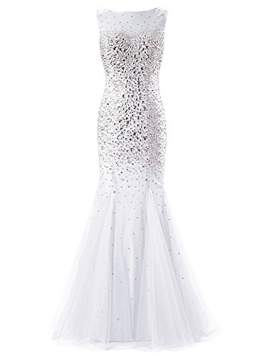 Fanciest Damen Cap Sleeve Crystal 2016 Meerjungfrau Abendkleider Ballkleid Lang Evening Gowns White