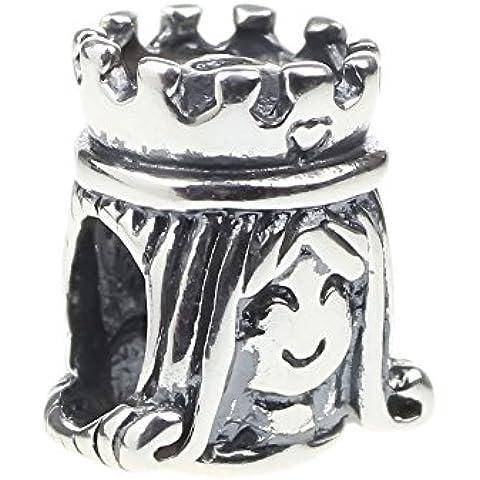 Beads Hunter - Colgante para pulsera en plata de ley 925, diseño en forma de corona de princesa, para pulseras de tipo