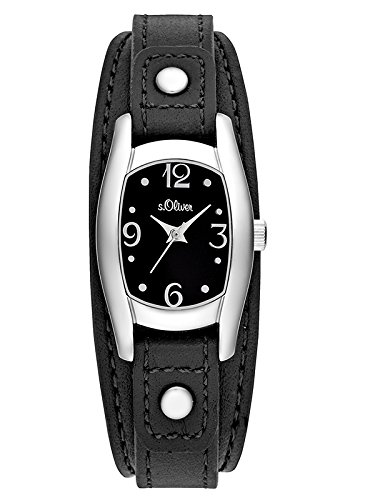 s.Oliver Damen-Armbanduhr Analog Quarz Leder SO-3100-LQ, schwarz