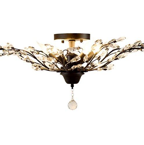 ayaya Plafonnier Noir cristal lampes branches États-Unis dans le style maison de campagne Filiale Crystal Grand plafonnier Village Lampe Salon design, 78cm