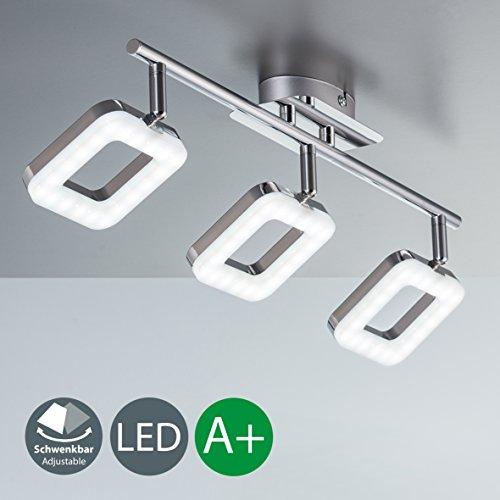 Lámpara de techo LED I Salón I 3 focos I Orientables y giratorios I Metal I Plástico I Foco angular I Cromado I 230 V I IP20 I 3 x 4 W