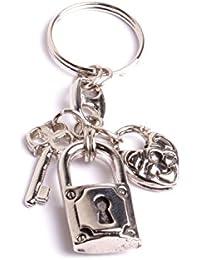 Porte clés cœur cadenas décoration bijoux de sacs anneaux pendentifs pour clés création bijouterie artisanale by mode France.