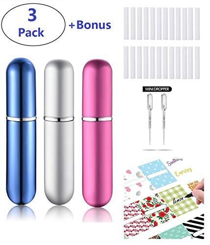 'Kroo aromaterapia vacío tubos de aluminio y cristal inhalador rellenable DIY Aceite Esencial aromaterapia uso (material antiburbujas, 3unidades)