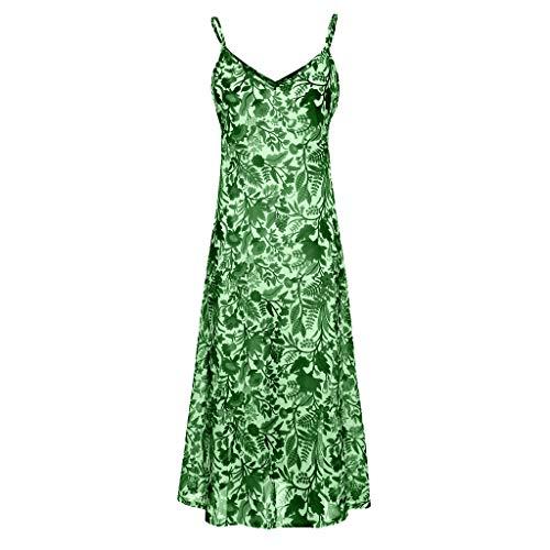 �hmen Sexy V-Ausschnitt Druck Ärmelloses Leibchen Sandy Beach Langes Kleid ()