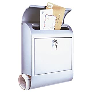 axentia Post Box - Stainless Steel Mail Box, Lockable with Newspaper Compartment - Simple Wall Mounted Letter Box 38x12.5x46cm