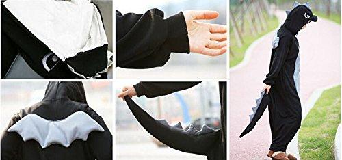wotogold Tier Schwarzer Drachen Pyjama Unisex Erwachsene Cosplay Kostüme Schwarz