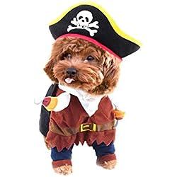 Act Disfraz de Pirata para Mascotas, Perro, Gato, Disfraz de Navidad, Disfraz de Festival con Sombrero