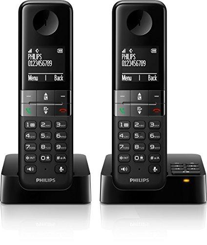 Philips D4552B/38 Schnurloses Telefon mit Anrufbeantworter (4,6 cm (1,8 Zoll) Display, HQ-Sound, Mobilteil mit Freisprecheinrichtung) schwarz