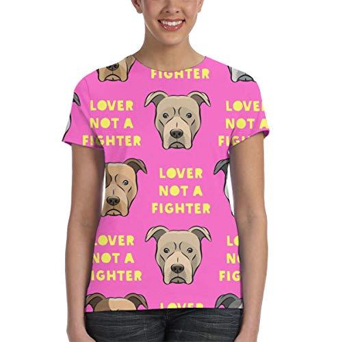 Women's Crew Full-Width Printing T-Shirt Lover Not A Fighter Pit Bull On Yellow Fun Cute Summer Short Sleeve Nature Shirt -