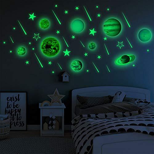 VIOYO Wandaufkleber 1 Satz leucht Planeten PVC Aufkleber DIY 3D wandaufkleber für kinderzimmer Schlafzimmer Wand wohnkultur Wohnzimmer Glow in Dark abziehbilder