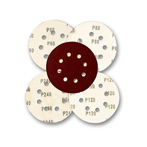 Astron Top Schleifscheiben Klett-Schleifpapier 125 mm 40 Stück Körnung je 10 x 60/80/120/240 Exzenter-Schleifer 8 Loch, DC8140R