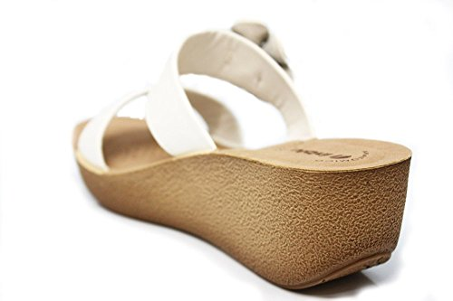 INBLU pour femme MID Wedge bout ouvert Sandales d'été à Bretelles Taille 2–8 Blanc - blanc